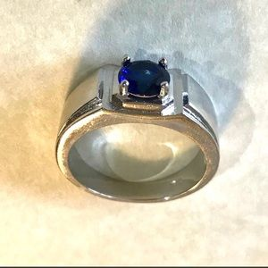 STAINLESS STEEL MENS SAPPHIRE RING 10